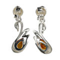"Sterling Silver and Baltic Honey Amber Earrings ""Swan"""