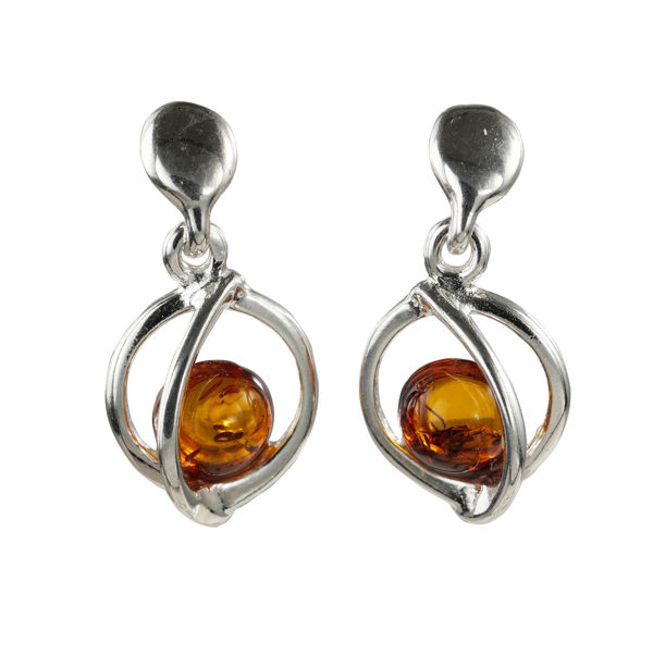 """Sterling Silver and Baltic Honey Amber Earrings """"Mona"""""""