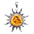 "Sterling Silver and Baltic Amber ""Flaming Sun"" Pendant (Medium)"