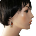 """Sterling Silver and Baltic Honey Amber Kidney Hook Earrings """"Mary"""" (large)"""