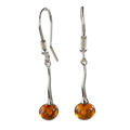 "Sterling Silver and Baltic Honey Amber Fish Hook Earrings ""Lidia"""
