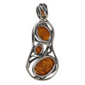 "Sterling Silver and Baltic Honey Amber Pendant ""Taylor"""