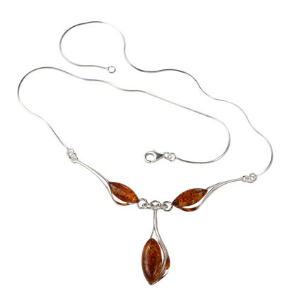 "Sterling Silver and Baltic Honey Amber Necklace  ""Angela"""