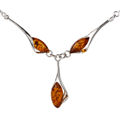 """Sterling Silver and Baltic Honey Amber Necklace  """"Angela"""""""