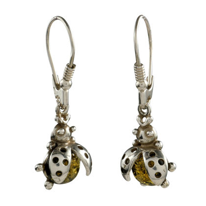 "Sterling Silver and Baltic Green Amber Earrings ""Ladybugs"""
