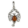 Sterling Silver and Baltic Amber Zodiac Sign Cancer Pendant