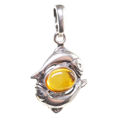 Sterling Silver and Baltic Amber Zodiac Sign Pisces Pendant