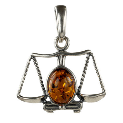 Sterling Silver and Baltic Amber Zodiac Sign Libra Pendant