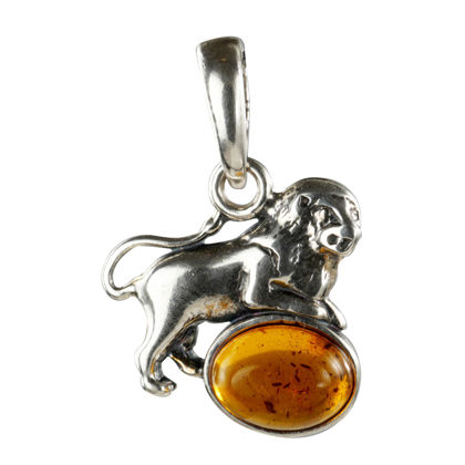Sterling Silver and Baltic Amber Zodiac Sign Leo Pendant