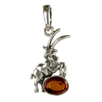 Sterling Silver and Baltic Amber Zodiac Sign Capricorn  Pendant