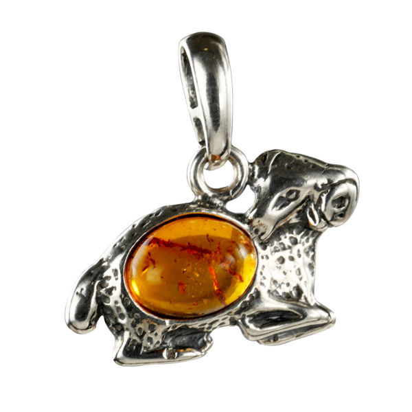 Sterling Silver and Baltic Amber Zodiac Sign Aries  Pendant