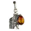 Sterling Silver and Baltic Amber Zodiac Sign Aquarius  Pendant