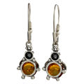 "Sterling Silver and Baltic Honey Amber Earrings ""Ladybugs"""