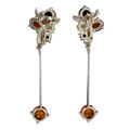 "Sterling Silver and Baltic Multicolored Amber Earrings ""Victoria"""