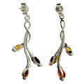 "Sterling Silver and Baltic Multicolored Amber Earrings ""Daisy"""