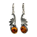 "Sterling Silver and Baltic Honey Amber Earrings ""Thea"""