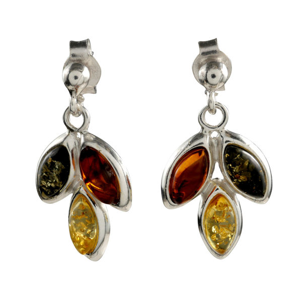 "Sterling Silver and Baltic Multicolored Amber Earrings ""Autumn"""