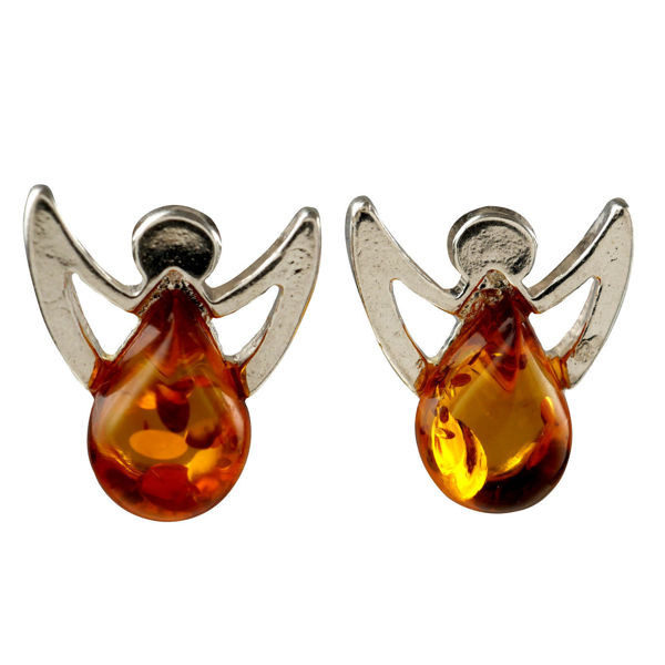 "Sterling Silver and Baltic Honey Amber Stud Earrings ""Angels"""