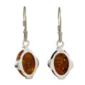 "Sterling Silver and Baltic Honey Amber Earrings ""Piper"""
