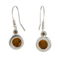 "Sterling Silver and Baltic Fish Hook Honey Amber Earrings ""Stephanie"""