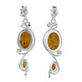 "Sterling Silver and Baltic Honey Amber Earrings ""Alice"""