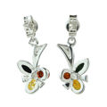"Sterling Silver and Baltic Multicolored Amber Earrings ""Clover"""