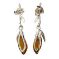 "Sterling Silver and Baltic Honey Amber Earrings ""Daria"""