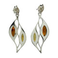 "Sterling Silver and Baltic Honey Amber Earrings ""Jennifer"""