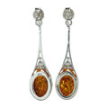 "Sterling Silver and Baltic Honey Amber Earrings ""Maggie"""