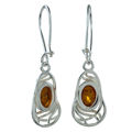 """Sterling Silver and Baltic Honey Amber Earrings """"Mary"""""""