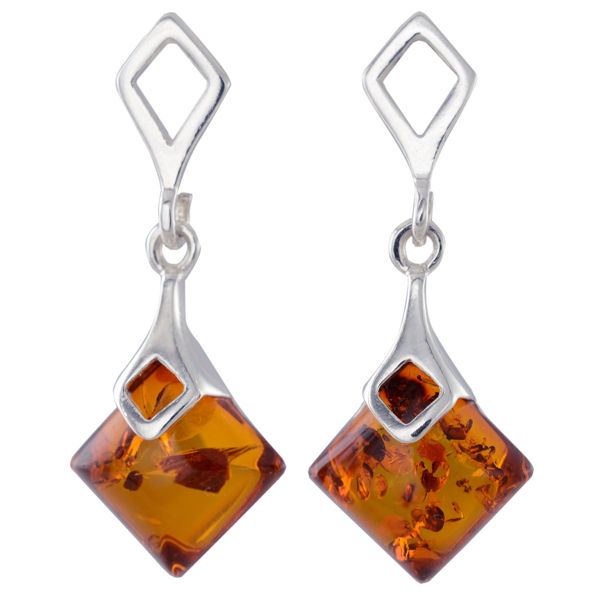 """Sterling Silver and Baltic Honey Amber Earrings """"Simone"""""""