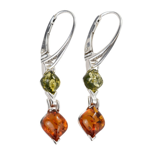 Sterling Silver Baltic Honey and Green Amber French Leverback Earrings