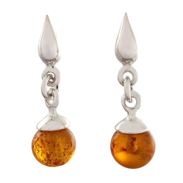 "Sterling Silver and Baltic Honey Amber Earrings ""Sarah"""