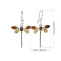 Sterling Silver and Baltic Multicolored Amber Kidney Hook  Dragonfly Earrings