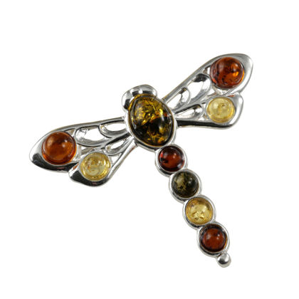Sterling Silver and Baltic Amber Dragonfly Brooch (Small)