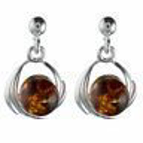"""Sterling Silver and Baltic Honey Amber Earrings """"Katie"""""""