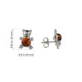 """Sterling Silver and Baltic Honey Amber Earrings """"Teddy Bear"""""""