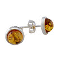 "Sterling Silver and Baltic Honey Amber Earrings ""Avery"""