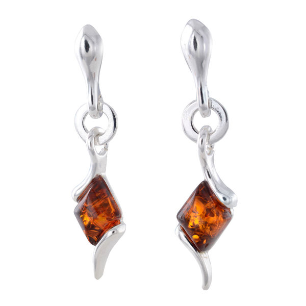 """Sterling Silver and Baltic Honey Amber Dangling Earrings """"Agnella"""""""
