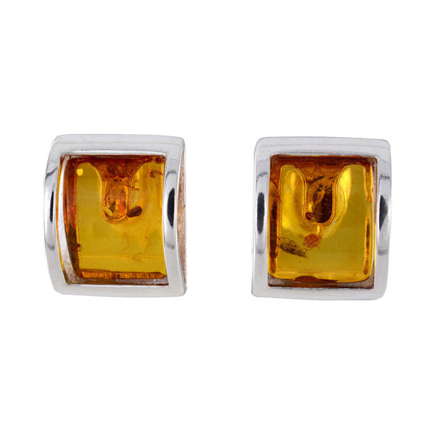 "Sterling Silver Baltic Honey Amber Earrings ""Lottie"" (Medium)"