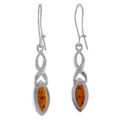 "Sterling Silver and Baltic Kidney Hook  Honey Amber Earrings ""Iryssa"""