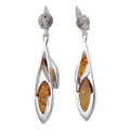 """Sterling Silver and Baltic Honey Amber Earrings """"Aurora"""""""
