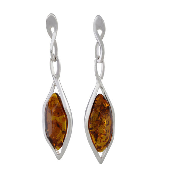 "Sterling Silver and Baltic Honey Amber Earrings ""Neveah"""