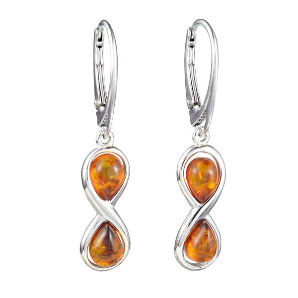 """Sterling Silver and Baltic Honey Amber Earrings """"Infinity"""""""