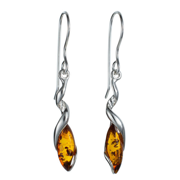 "Sterling Silver and Baltic Honey Amber Earrings ""Genesis"""