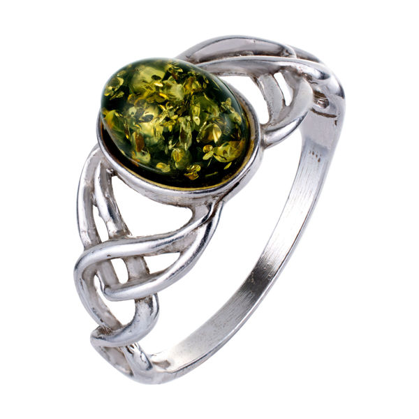 """Sterling Silver and Baltic Green Amber Ring """"Celtic Knots"""""""