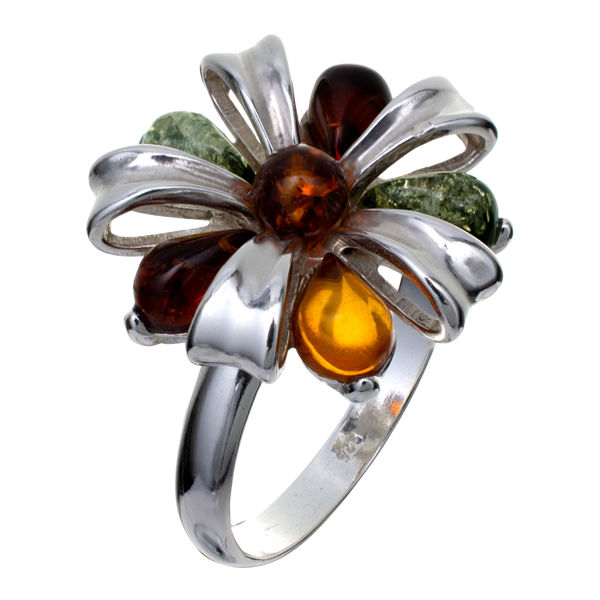 "Sterling Silver and Baltic Multicolor Amber Ring ""Clemence"""