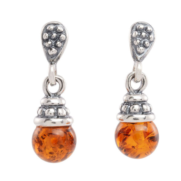 "Sterling Silver and Baltic Honey Amber Dangling Earrings ""Iris"""