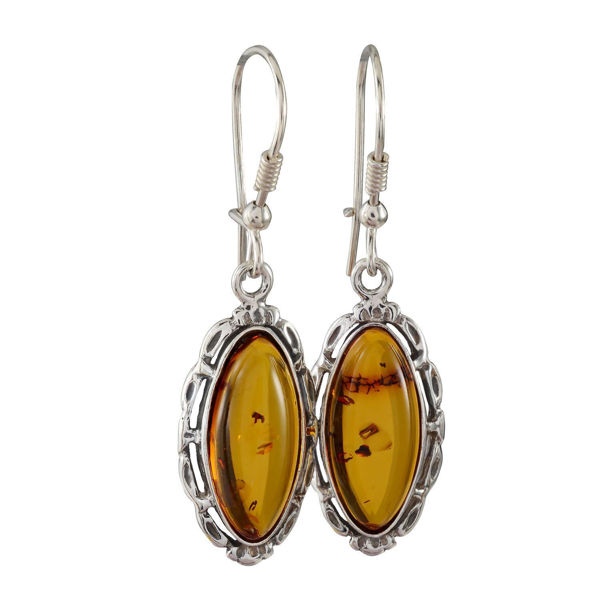 "Sterling Silver and Baltic Kidney Hook  Honey Amber Earrings "" Devee"""