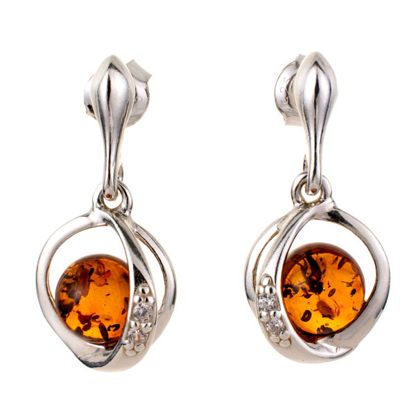 """Sterling Silver and Baltic Honey Amber Earrings """"Brianna"""""""
